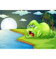 A sleepy monster at the riverside vector image