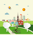abstract flat design city with man on bicycle vector image