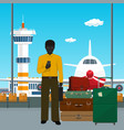 african american man waiting for boarding a plane vector image vector image