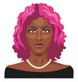 african girl with pink hair on white background vector image vector image