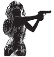 An Girl with the Revolver Shooter - Hand drawn vector image vector image