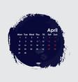 april 2019 calendar templatestarts from monday vector image