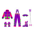 big set of flat style skiing hiking equipment vector image vector image