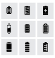black batery icon set vector image vector image