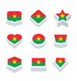 burkina faso flags icons and button set nine vector image