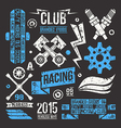 Car racing badges in retro style vector image vector image