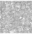 cartoon doodles russian food seamless pattern vector image vector image
