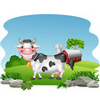 cartoon happy cow with farm background vector image vector image