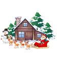 christmas scene with santa on sleigh vector image vector image