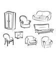 Collection of furniture designs vector image vector image