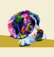 colorful saint bernard dog on pop art style vector image vector image