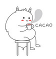 cute fluffy monster sitting on a chair and vector image vector image