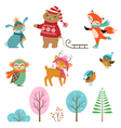 Cute winter animals vector image vector image