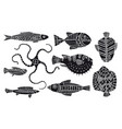 fantasy fishes vector image vector image