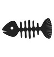 fish skeleton icon fishbone symbol black vector image vector image