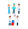flat clinic medical staff icon set vector image