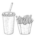 french fries and a drink in disposable cup black vector image