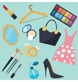 girl stuff woman things fashion object icon vector image vector image