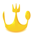 Gold Crown Spoon Knife Fork vector image vector image