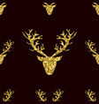gold glitter deer horns seamless pattern vector image