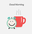 good morning with coffee and alarm clock vector image