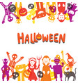 halloween monster characters frame vector image vector image