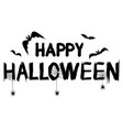 happy halloween text banner with spider web and vector image