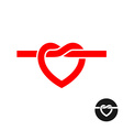 heart knot silhouette logo simple red rope vector image vector image