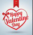 Heart ribbon with Happy valentine day text vector image vector image