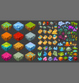 Isometric game landscape icons set vector image
