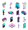 isometric smart city icons vector image vector image