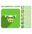 Medical Drone Shipment Icon and Medical Longshadow vector image vector image