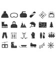 monochrome icon set of winter sport black vector image vector image