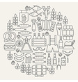 Oktoberfest Beer Holiday Line Icons Set Circular vector image vector image