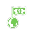 paper sticker on white background Earth money vector image vector image