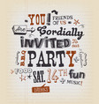 party invitation poster on school paper vector image vector image