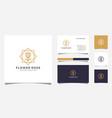 rose flower logo design and business card design vector image vector image