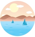 sailboats floating in the sea Mountain Beach sun vector image vector image