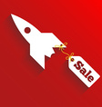 Sale teg fly on the rocket red background vector image vector image