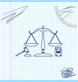 scales justice gavel and book line sketch icon vector image vector image