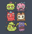 set cute monsters vector image