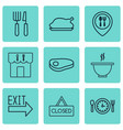 set of 9 restaurant icons includes doorway steak vector image vector image