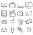 set of icons in line style cinema vector image vector image