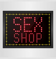 shining retro light banner sex shop sign vector image vector image