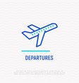 take-off plane line icon sign of departures area vector image