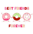 three cute donut in kawaii style vector image