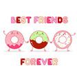 three cute donut in kawaii style vector image vector image