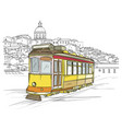 traditional portuguese tram lisbon cityscape vector image vector image