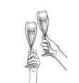 two hands clinking glasses of champagne vector image vector image