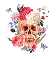 Watercolor card with skull and pink peony vector image vector image